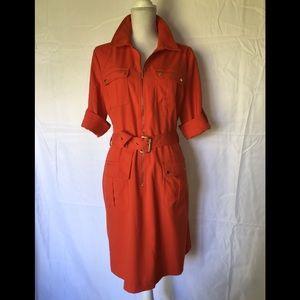 MICHAEL KORS Women's Sz XL Orange Shirt Dress